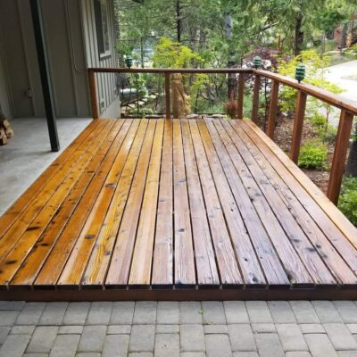 Refinished wood deck